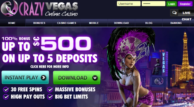 Crazy Vegas $500 Welcome Bonus
